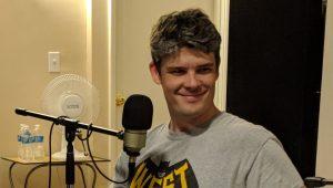 Adam Davis behind the mic