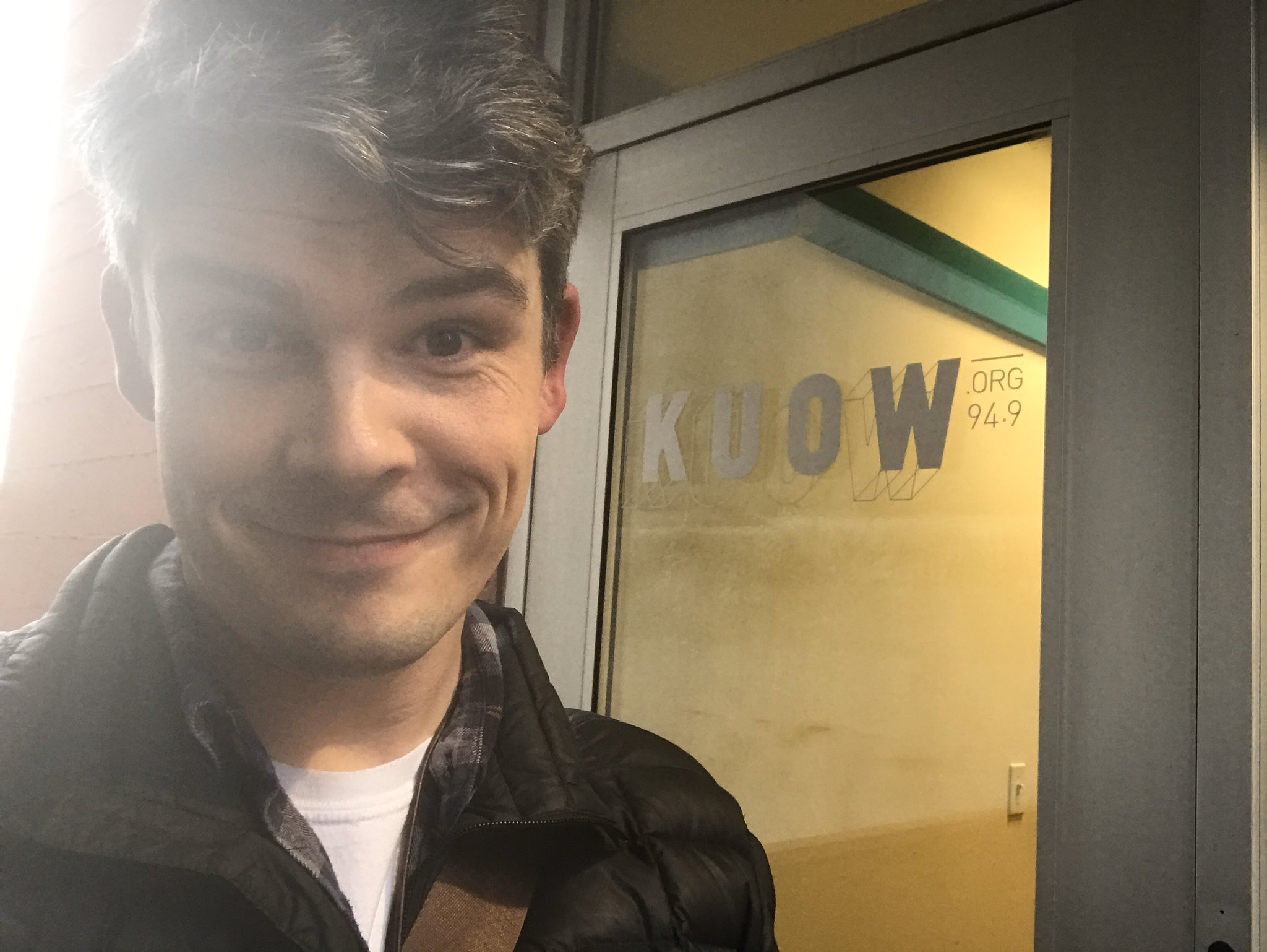 Adam Davis in front of KUOW