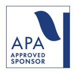 """White background with blue geometric shapes. Text reads """"APA Approved Sponsor."""""""