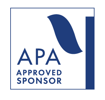"White background with blue geometric shapes. Text reads ""APA Approved Sponsor."""